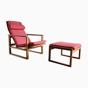 2254 Sessel & 2248 Fußhocker von Børge Mogensen für Fredericia, 1950er