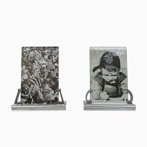 French Art Deco Polished Aluminum Picture Frames, Set of 2