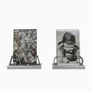 Portarretratos franceses Art Déco de aluminio pulido. Juego de 2