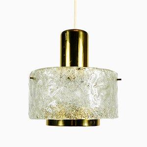 Lámpara colgante Mid-Century de latón y cristal de hielo de Kaiser, años 60