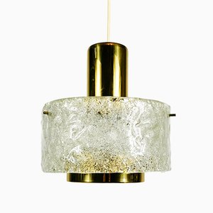 Mid-Century Brass & Ice Glass Pendant from Kaiser, 1960s
