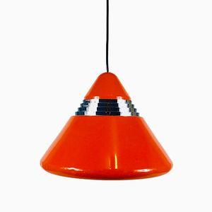 Lampe à Suspension en Métal Rouge par Kazuo Motozawa pour Staff, 1970s
