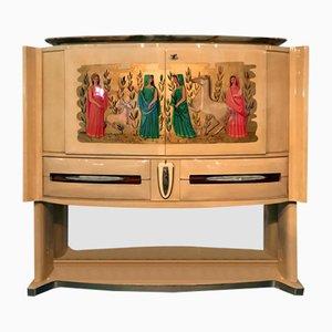 Italian Mid-Century Parchment Bar Cabinet by Vittorio Dassi, 1949