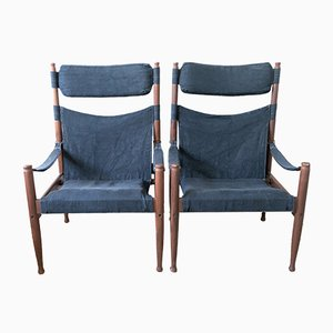 Vintage Safari Chairs by Erik Wørts for Niels Eilersen, Set of 2