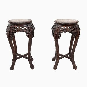 Antique Chinese Plant Stands, 1890s, Set of 2