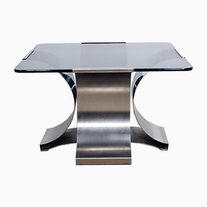 Small Glass & Steel Coffee Table by Francois Monnet, 1970s