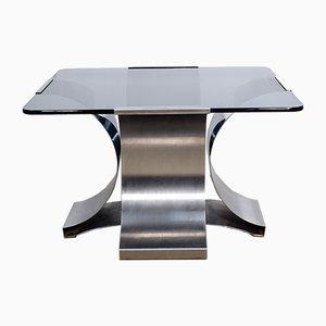 Tavolino da caffè in vetro e acciaio di Francois Monnet, anni '70