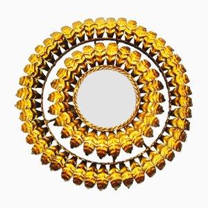 Specchio in ferro battuto dorato a forma di sole, anni '50
