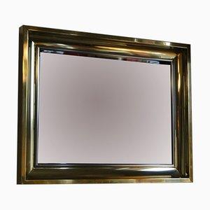 Espejo francés de latón y acero inoxidable, años 70