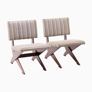 Niederländische Vintage Stühle mit Gestell aus Schichtholz in Scheren-Optik, 1958, 2er Set
