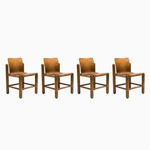 Vintage Plywood Chairs, 1960s, Set of 4