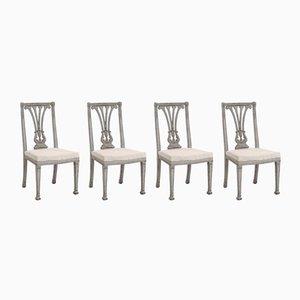 Antike gustavianische Esszimmerstühle, 4er Set
