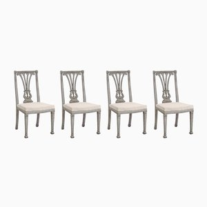 Antique Gustavian Dining Chairs, Set of 4