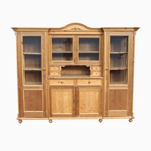 Large Antique Pine Bookcase Display Cabinet, 1905