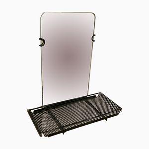 Specchio in metallo nero di Mathieu Matégot per Artimeta, anni '50