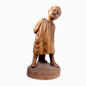 Italienische Kinderstatue aus Terrakotta von Calendi, 1950er