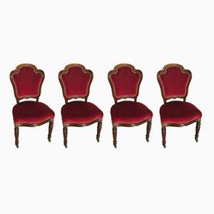 Sedie Napoleone III in mogano e velluto, metà XIX secolo, set di 4