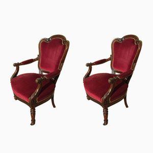 Napoleon III Armlehnstühle mit Samtbezug & Gestell aus Mahagoni, 1830er, 2er Set