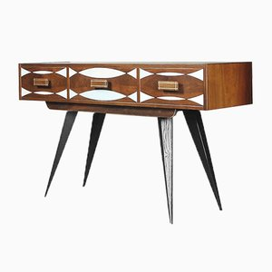 Mid-Century Swedish Painted Walnut Console with Drawers, 1960s