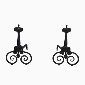 18th Century French Wrought Iron Andirons, Set of 2