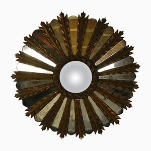 Vintage French Carved & Gilded Wooden Sunburst Mirror, 1930s
