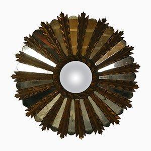 Vintage French Carved & Gilded Wooden Sunburst Mirror, 1930s