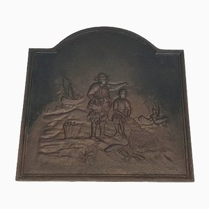 Placa de chimenea de hierro fundido con motivos de pescadores del siglo XIX