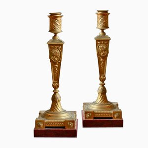 Candelabros franceses antiguos de bronce. Juego de 2