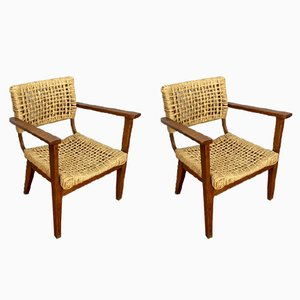 Vintage Armchairs by Adrien Audoux & Frida Minet, 1950s, Set of 2