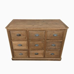 Antique Industrial Oak Haberdashery Cabinet with 9 Drawers