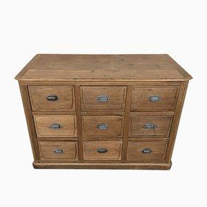 Mueble de mercería industrial antiguo de roble con nueve cajones
