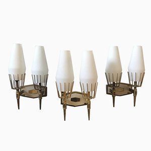Mid-Century Italian Modern Brass and White Glass Wall Sconces from Stilnovo, 1950s, Set of 3