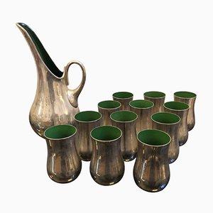 Italienisches Mid-Century Cocktail-Set aus Glas & Silber, 1970er