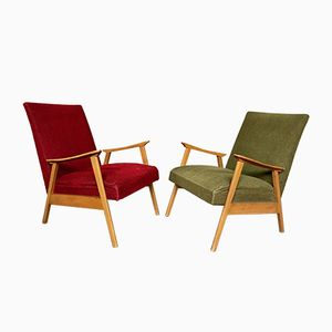 Light Wood Vintage Armchairs, 1950s, Set of 2