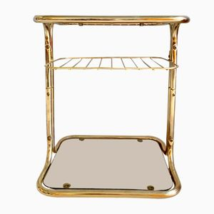 Vintage Italian Glass and Brass Side Table