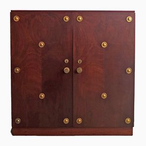 Art Deco Walnut & Brass Filing Cabinet