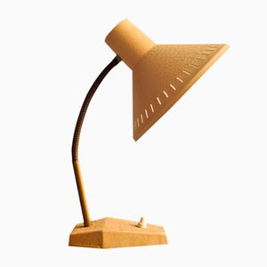 Beige & Gold Adjustable Desk Lamp, 1950s