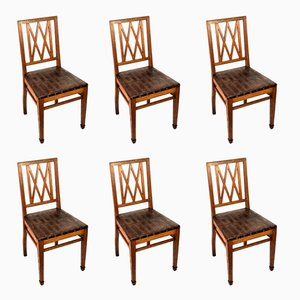 Antique Art Nouveau Armchairs, Set of 6