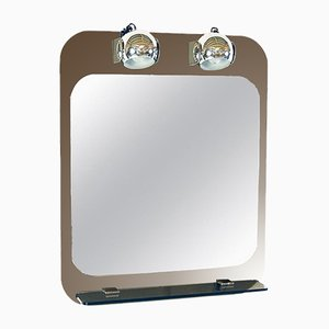Italian Modern Mirrored Glass & Chrome Illuminated Mirror from Veca, 1970s