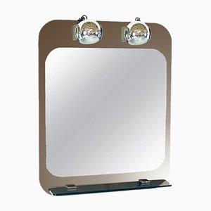 Miroir Illuminé Moderne en Chrome et Verre Miroité de Veca, 1970s