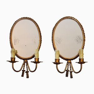 Mid-Century Wall Lights with Mirrors, Set of 2