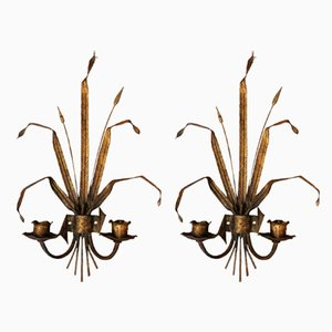 Vintage Spanish Metal Wall Candle Holders, 1960s, Set of 2