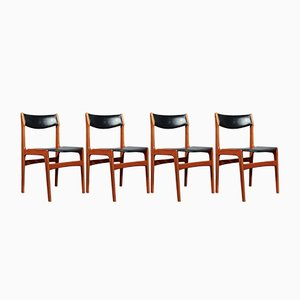 Dänische Mid-Century Stühle mit Gestell aus Teak & Sitz aus Leder von Erik Buch, 4er Set