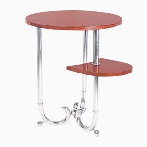 Art Deco French Mahogany & Chrome Side Table, 1930s