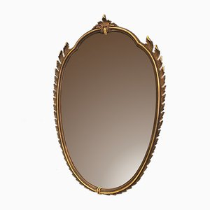 Mid-Century Oval Italian Gilded Mirror by Paolo Buffa, 1940s