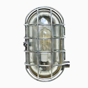 Lámpara de pared grande ovalada con pantalla de malla metálica, años 50