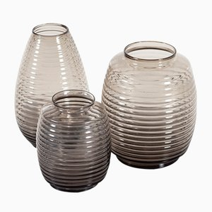 Smoked Ribbed Glass Vases by A.D. Copier for Leerdam Glassworks, 1950s, Set of 3