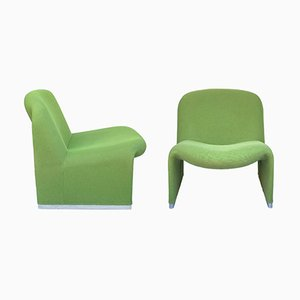 Italian Green Alky Lounge Chairs by Giancarlo Piretti for Castelli, 1970s, Set of 2