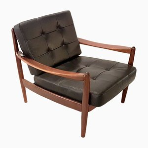 Teak and Leather Lounge Chair by Grete Jalk, 1960s