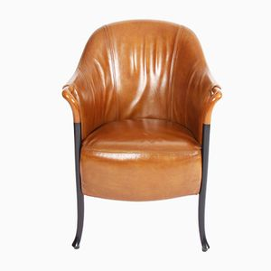 Vintage Tan Leather Armchairs from Giorgetti, Set of 2